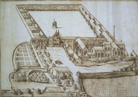 Aimé Piron, Vue en perspective de la chartreuse de Champmol, 1686, Bibliothèque municipale de Dijon