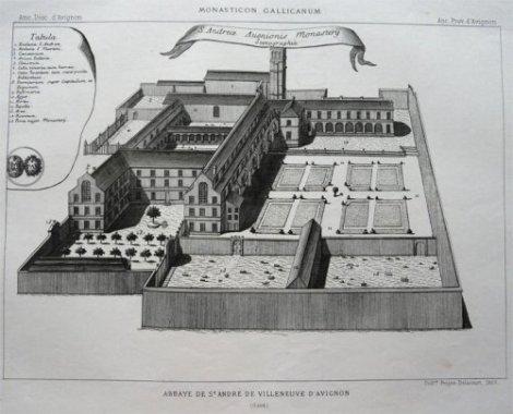 Vue de l'abbaye Saint-André au XVIIIe siècle, extrait du Monasticon Gallicanum