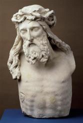 Claus Sluter, Buste du Christ crucifié, provenant du calvaire de la chartreuse de Champmol, 1395-1399, Musée archéologique de Dijon © RMN